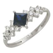 Кольцо Дорожка с бриллиантами и сапфиром, белое золото