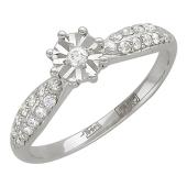 Кольцо Цветок с дорожкой бриллиантов, белое золото