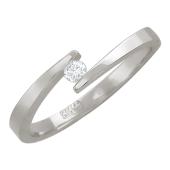Кольцо Солитер с бриллиантом, белое золото
