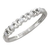 Кольцо со спиралью и бриллиантами, белое золото, 585 пробы