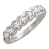 Кольцо Дорожка Сердец с бриллиантами, белое золото