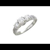 Кольцо с бриллиантами, белое золото, 585 проба