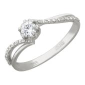 Кольцо с одним бриллиантом в центре и бриллиантами по шинке, белое золото
