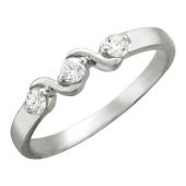 Кольцо Волна с бриллиантами, белое золото