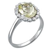 Кольцо с бриллиантом и кварцем из белого золота 585 пробы