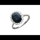 Кольцо с бриллиантом и сапфиром из белого золота 585 пробы