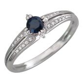 Кольцо Дорожка бриллиантов с круглым сапфиром, белое золото