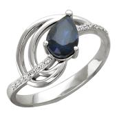 Кольцо Капля с бриллиантами и сапфиром груша, белое золото