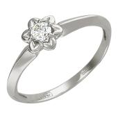 Кольцо с бриллиантом в оправе-цветок, белое золото