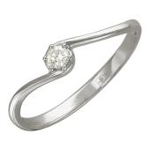 Кольцо с бриллиантом и изогнутой шинкой, белое золото, 585 проба