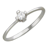 Кольцо с бриллиантом в оправе с сердечками, белое золото