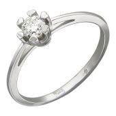 Кольцо с бриллиантом, крепеж-сердечко, белое золото