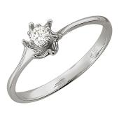 Кольцо Ракушка с бриллиантом, белое золото
