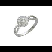 Кольцо с квадратными бриллиантами, белое золото