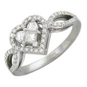 Кольцо бриллиантовое Сердце, белое золото