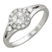 Кольцо с бриллиантами разной формы, белое золото