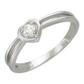 Кольцо Сердце с бриллиантом, белое золото