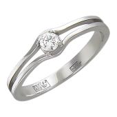 Кольцо с бриллиантом, белое золото
