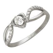 Кольцо ажурное с бриллиантами, белое золото