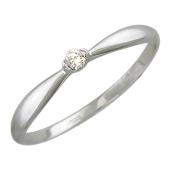 Кольцо помолвочное с бриллиантом, белое золото