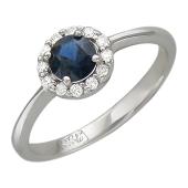 Кольцо с бриллиантами и круглым сапфиром, белое золото