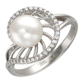 Кольцо с бриллиантом и жемчугом из белого золота 585 пробы