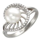 Кольцо с жемчугом и бриллиантами, белое золото