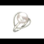 Кольцо Жемчужина с бриллиантами, белое золото