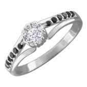 Кольцо Цветок с черными и прозрачными бриллиантами, белое золото