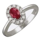 Кольцо Принцесса с овальным рубином (сапфиром) и бриллиантами вокруг, белое золото