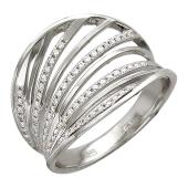 Кольцо широкое, паутина с бриллиантами, белое золото