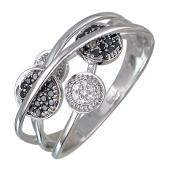 Кольцо Сферы с черными и прозрачными бриллиантами, белое золото