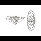 Кольцо ажурное широкое на весь палец с бриллиантами, белое золото