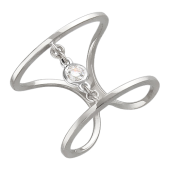 Кольцо широкое с бриллиантом, белое золото