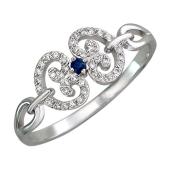 Кольцо Королевское с сердечками, бриллианты и сапфир, белое золото