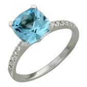 Кольцо с бриллиантами и большим топазом кушен, белое золото