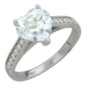 Кольцо Сердце с бриллиантами и топазом, белое золото