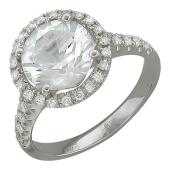 Кольцо с большим круглым топазом и бриллиантами, белое золото