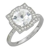 Кольцо Снежная Королева с бриллиантами и топазом, белое золото