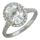 Кольцо с большим топазом и бриллиантами, белое золото