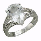 Кольцо с бриллиантами и большим топазом груша, белое золото