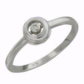 Кольцо с бриллиантом в круге, белое золото