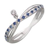 Кольцо Викс Бесконечность с сапфирами и бриллиантом, белое золото