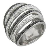 Кольцо с черными и прозрачными бриллиантами, белое золото