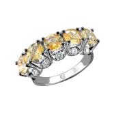 Кольцо с бриллиантами и сапфирами из белого золота 585 пробы