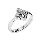 Кольцо Цветок с бриллиантом из белого золота 585 пробы