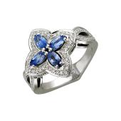 Кольцо Цветок с бриллиантами и сапфирами из белого золота 585 пробы