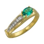 Кольцо с овальным изумрудом и бриллиантами, желтое золото