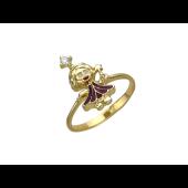 """Золотое кольцо """"Фея"""" с бриллиантом, желтое золото, 585 проба"""
