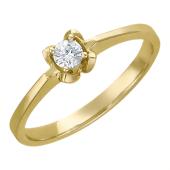 Кольцо Солитер с бриллиантами, желтое золото